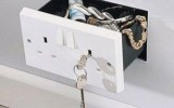 Here's a secret compartment concealed as an INTL style electrical wall outlet.